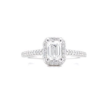 Emerald Cut Halo Lab Grown Diamond Engagement Ring