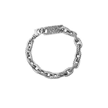 Oval Link Bracelet with Crosshatch Texture
