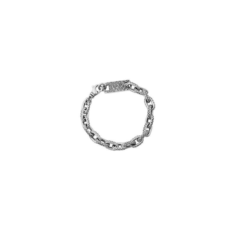 King Baby Oval Link Bracelet with Crosshatch Texture