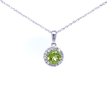 Peridot and Diamond Halo Pendant