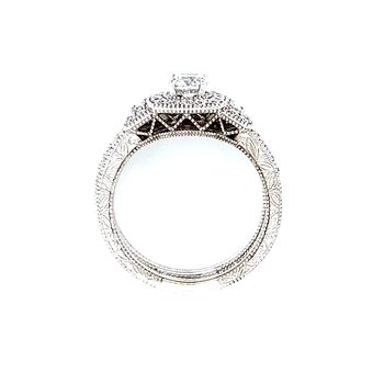 Vintage Romance Triple Halo Wedding Set
