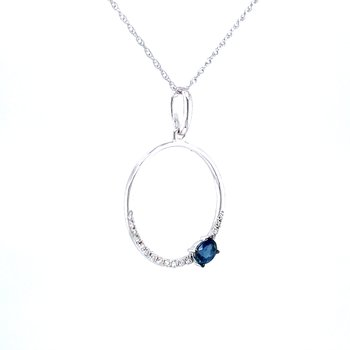 Circle Pendant with Sapphire.25