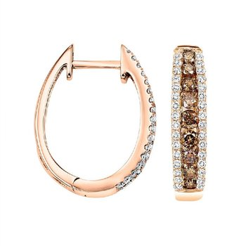 Brown Diamond Hoops
