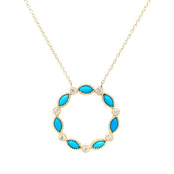 Turquoise & Diamond Circle Necklace-14ky