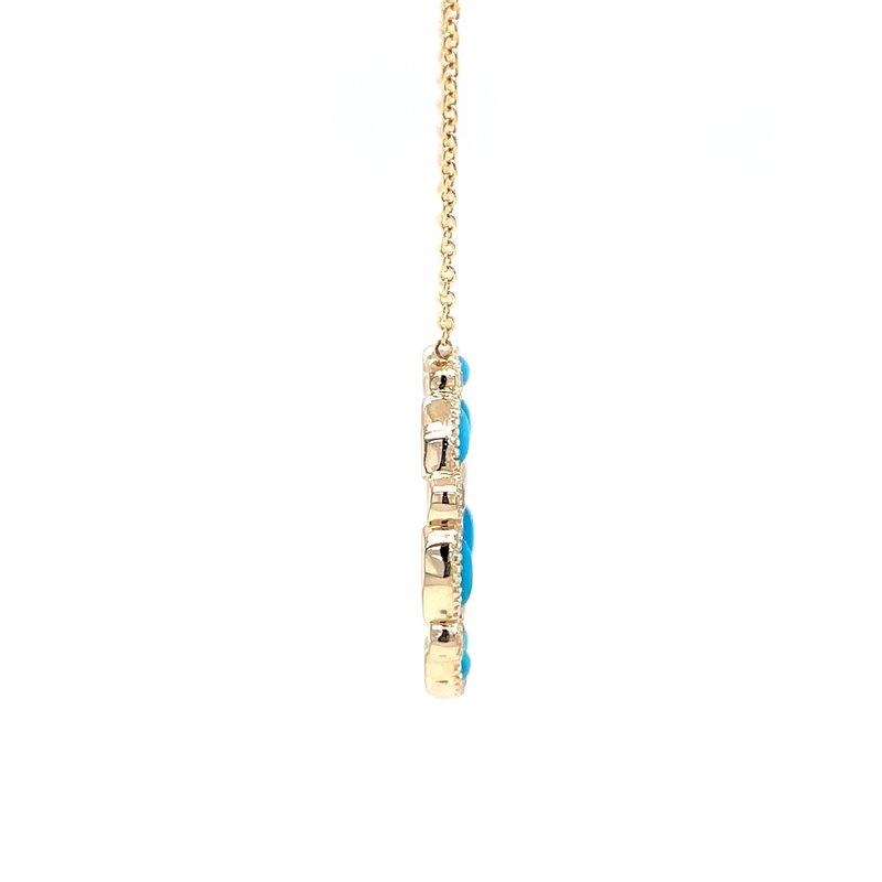 Bryan Beauties Turquoise & Diamond Circle Necklace-14ky