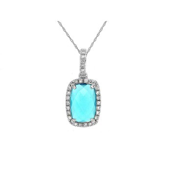 Blue Topaz & Diamond Rose Cut Pendant