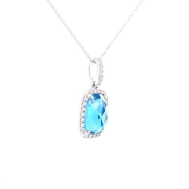Bryan Beauties Blue Topaz & Diamond Rose Cut Pendant