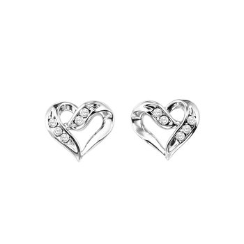 Heart Shaped Earrings with Diamonds