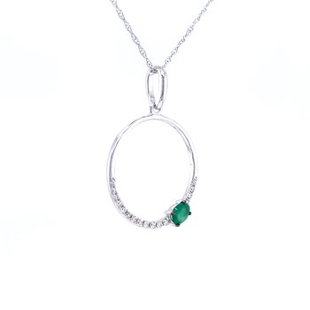 Circle Pendant with Emerald
