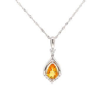 Glowing Citrine Pendant with Diamonds