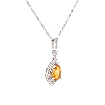 Glowing Citrine Pendant with Diamonds