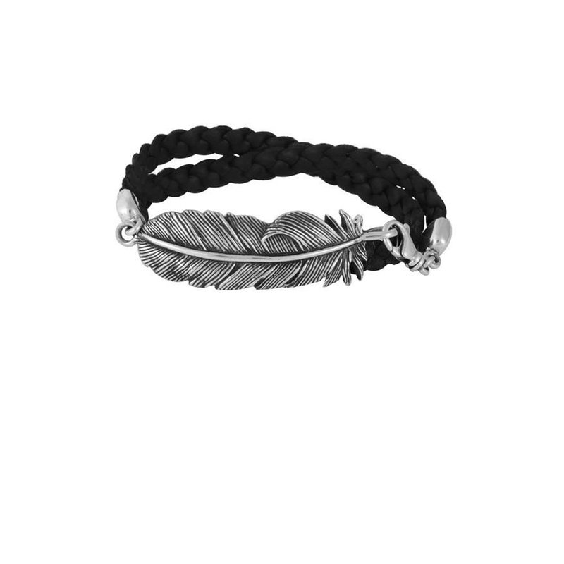 King Baby Double Wrap Leather Bracelet w/ Raven Feather