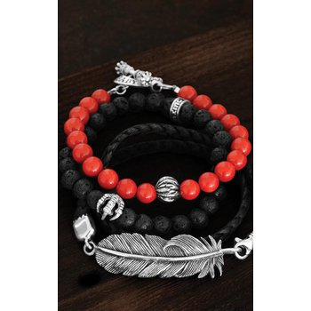 Double Wrap Leather Bracelet w/ Raven Feather