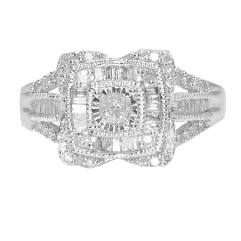 Sparkle on the Square Cocktail Ring