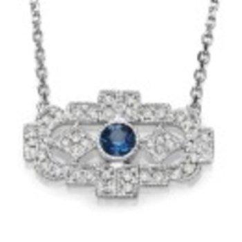 Vintage Style Sapphire Trapeze Necklace