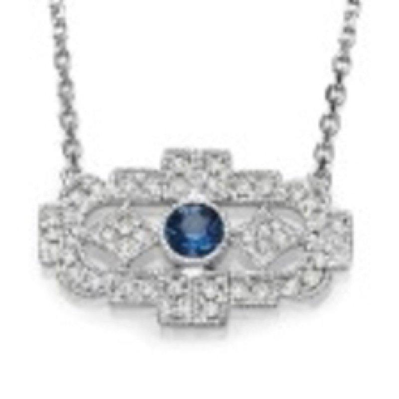 Bryan Beauties Vintage Style Sapphire Trapeze Necklace