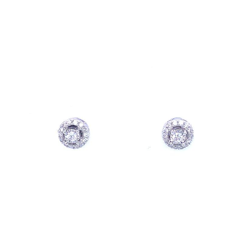 Bryan Beauties Tru-reflections Halo Diamond Studs 1/10ctw