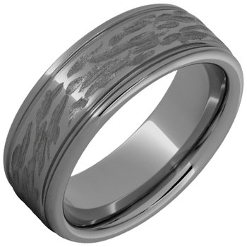 Rugged Tungsten™ Rounded Edge Band with Bark Finish
