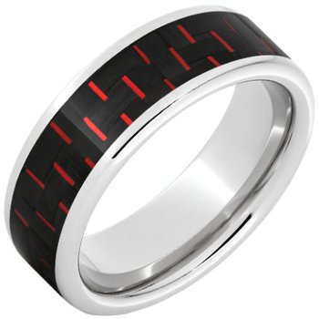 Serinium® Pipe Cut Band with Black and Red Carbon Fiber Inlay