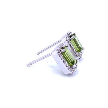 Emerald Cut Peridot Earrings with Halos
