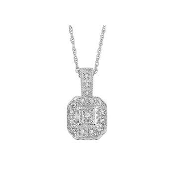 Vintage Style Sterling & Diamond Pendant