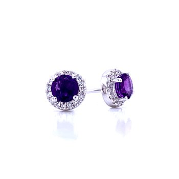 Amethyst and Diamond Halo Studs
