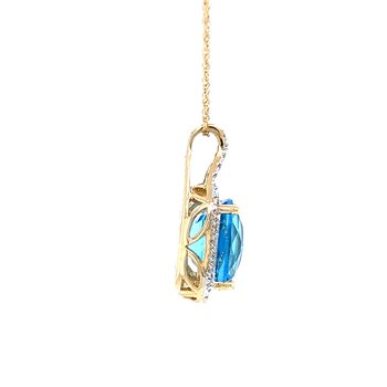 Checkerboard Faceted Blue Topaz Pendant