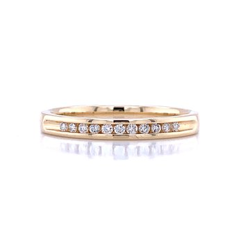 Channel Set Diamond Wedding Band 14ky-1/10ctw