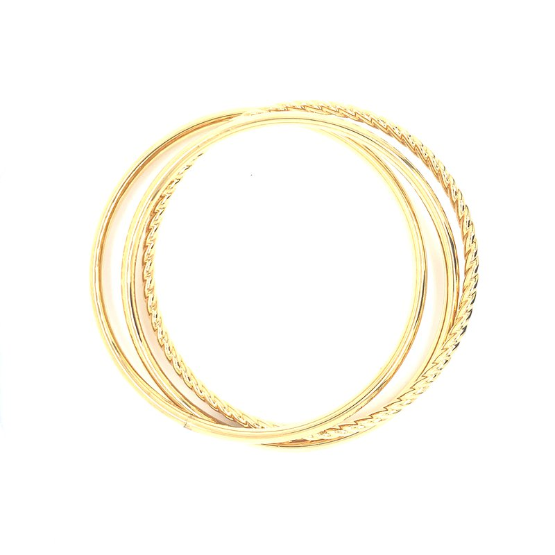 Aladdin Gold Creations Suave Oro Interlocking Bangle Set