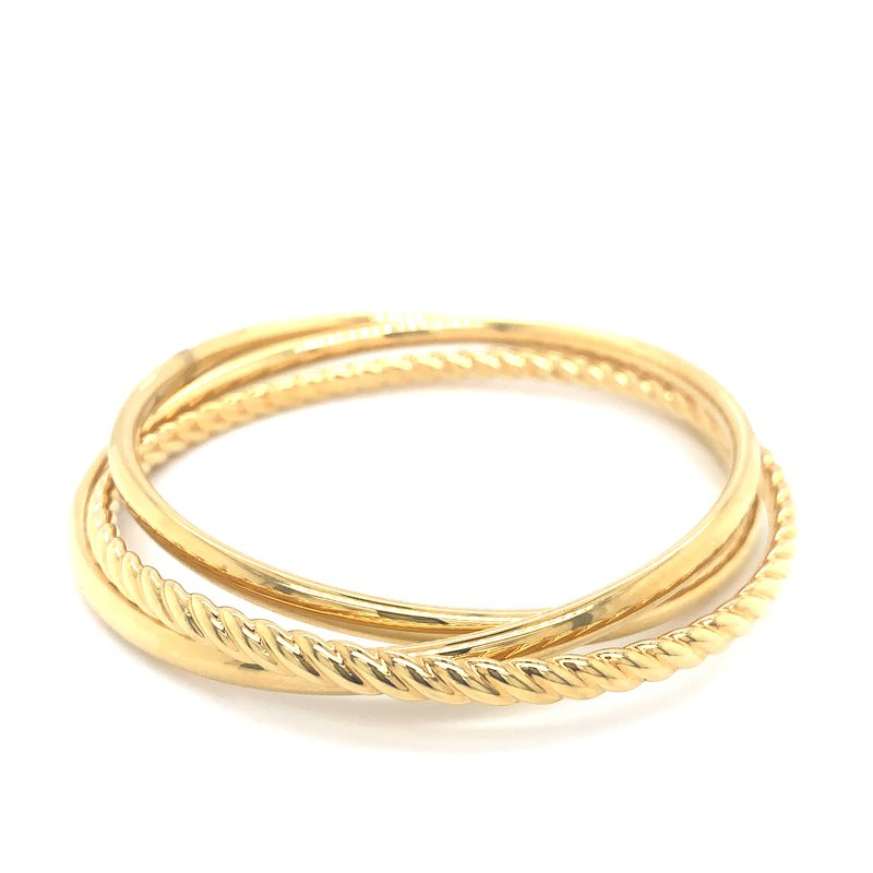 Aladdin Gold Creations Suave Oro Interlocking Bangle Set