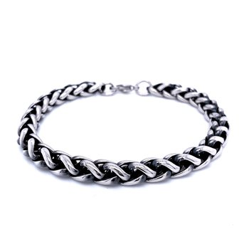 Black & Stainless Steel Wheat Bracelet
