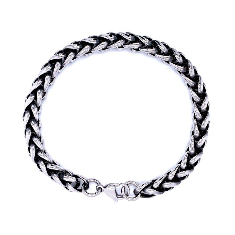 Bryan Beauties Black & Stainless Steel Wheat Bracelet