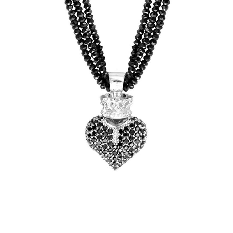 King Baby Black Spinel Necklace w/Large 3D Black Pave CZ Crowned Heart