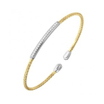 Sterling Silver 2mm Mesh Cuff with CZ, Reversible, 2 Tone, 18K Yellow Gold and Rhodium Finish