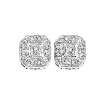 Vintage Style sterling Silver & Diamond Earrings