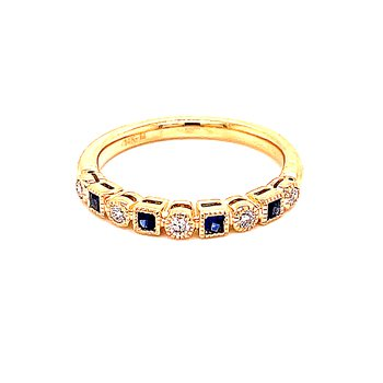 Sapphire & Diamond Shapes Band-14ky