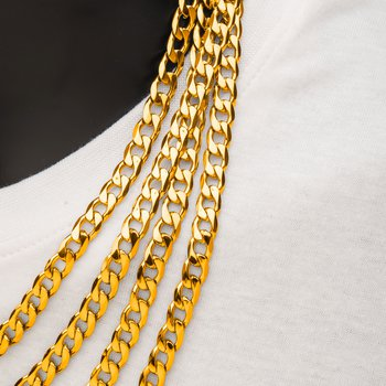 8mm 18K Gold Plated Bevel Curb Chain