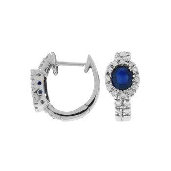 Sapphire & Diamond Hoop Earrings