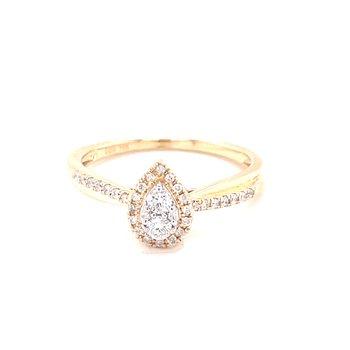 Pear Shaped Halo Diamond Ring-10ky