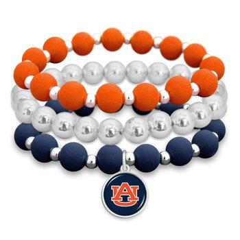 Auburn Colors Beaded Stacker Bracelets