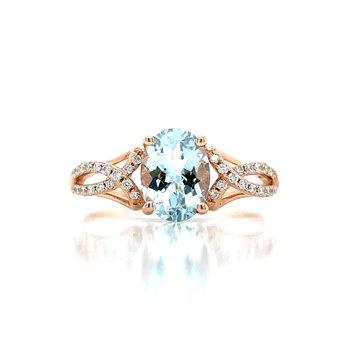 Blushing Aquamarine & Diamond Ring