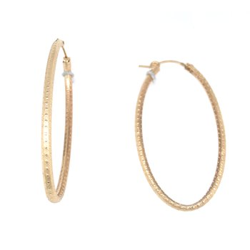 Textured Gold Hoop Earrings - Oval 50mm