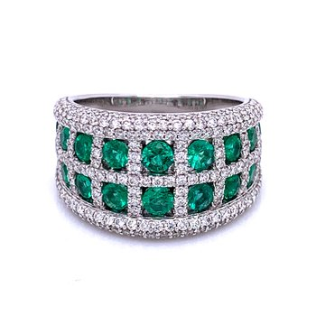 Emerald & Diamond Window Pane Wedding Band