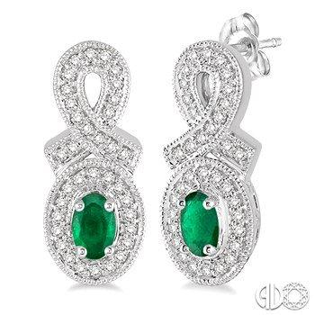 Emerald and Diamond Halo Drop Earrings