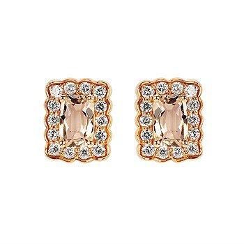 Morganite Earrings-Emerald Cut