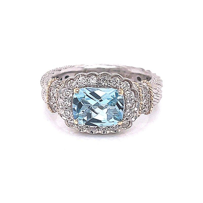 Piyaro Blue Topaz & Diamond Ring