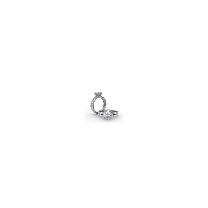 Fana  Classic Oval Diamond Solitaire Engagement Ring With Hidden Pavé Halo