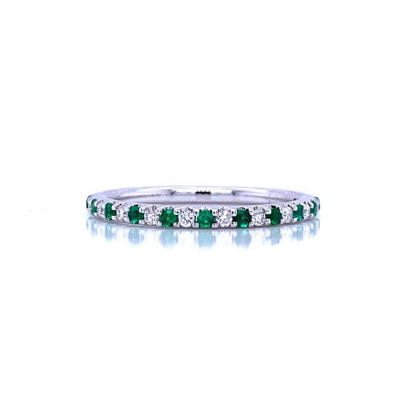Bryan Beauties  Delicate Emerald Shared Prong Anniversary Band