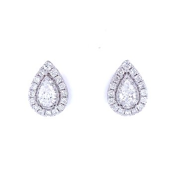 Pear Shaped Halo Diamond Studs