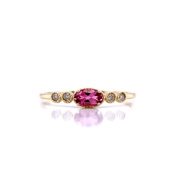 Sideways Pink Tourmaline Ring